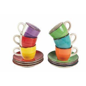Espressokopp med fat i olika färger
