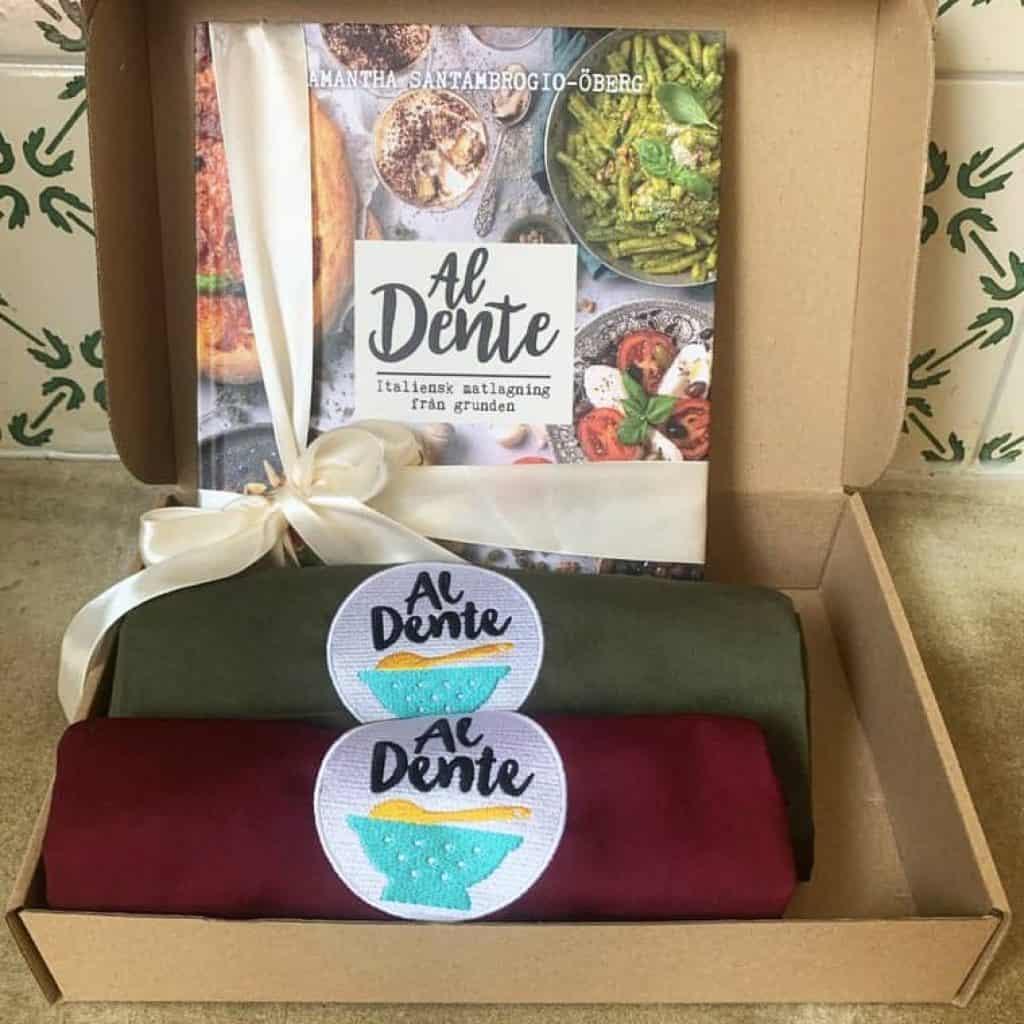 förkläden och italiensk kokbok för äkta familje recept från italien