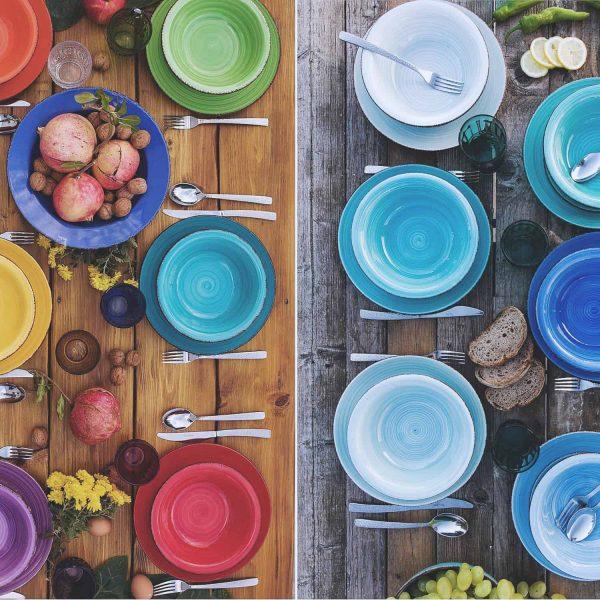 Tallrikar i olika färger från italien